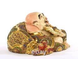 Old Japanese Satsuma Moriage Hotei Buddha Lucky God Figure Okimono Marked
