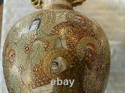 PAIR Japanese Satsuma Vases. VERY Fine Work/Much Gold. 33 haloed figures ea 7x4