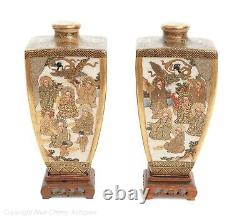 Pair Fine Antique Signed Hododa Japanese Satsuma Ware Vases with Deities