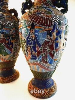 Pair Japanese Satsuma Moriage Handle Vases w Landscape Scene Lamp Base Meiji 17