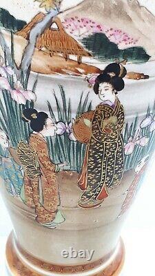 Pair Of Early 20th Century Japanese Hand Painted Satsuma Baluster Vases kosheda