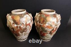 Pair XL SATSUMA VASES hight 52 cm! MEIJI 19th C ShiShi on Lids, good detail