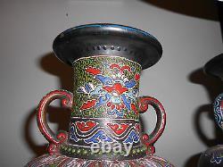 Pair of Black Satsuma Moriage Vases Lamps c1920s