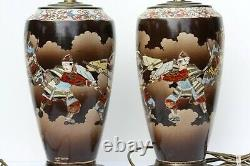Pair of Large Antique Japanese Satsuma porcelain lamp bases, early 20th C