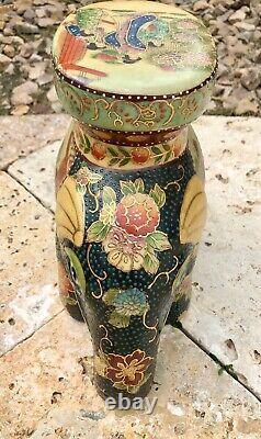 Pair of Vintage Royal Satsuma Japanese Porcelain Elephant Stool Plant Stands