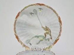 Rare Antique Japanese Fine Porcelain Cup & Saucer Satsuma Kutani Frogs AE1