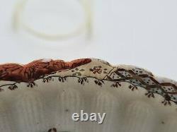 Rare Antique Japanese Fine Porcelain Cup & Saucer Satsuma Kutani Frogs AE2
