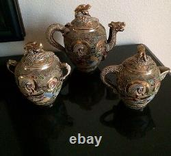 SATSUMA Antique Gold Japanese Tea Set Immortals Style Hand Painted Very Old
