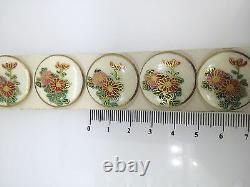 SATSUMA Buttons. Antique set of 6. Hand painted Flowers 24mm JAPANESE
