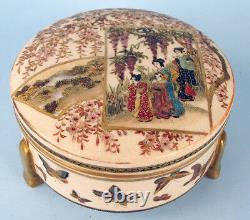 Satsuma Meiji Japanese Covered Box Kogo Signed Taizan