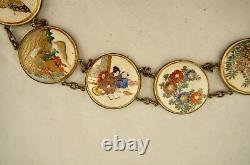 Signed Meiji Japanese Satsuma ware 14-panel enamelled belt with tomobako