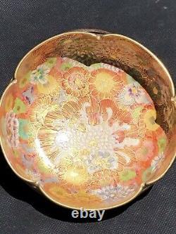 Stunning Antique Japanese Koshida Satsuma Thousand Flower Lobed Bowl