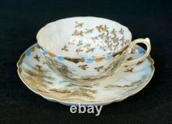 Stunning Satsuma Antique Japanese Hand Painted Eggshell Porcelain Cup And Saucer