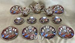 Vintage Japanese Porcelain Ceramic Satsuma Moriage Dragon Ware Tea Set