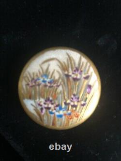 Vintage Satsuma Japanese Porcelain Buttons 4pc Set In Rich Gold